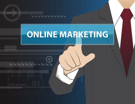 marketing online: Businessman working with modern virtual technology, hand touching ONLINE MARKETING