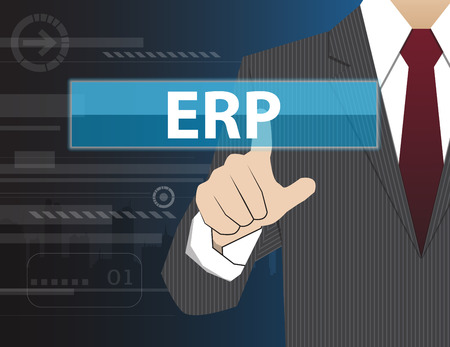 erp: Businessman working with modern virtual technology, hand touching ERP (or Enterprise Resource Planning)