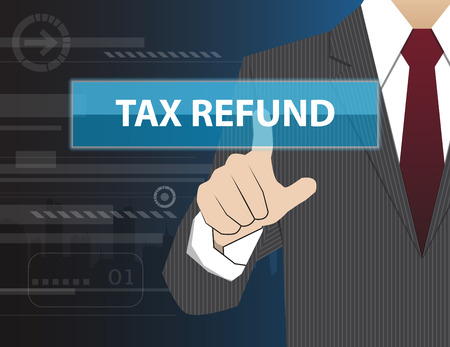virtual technology: Businessman working with modern virtual technology, hand touching  TAX REFUND Illustration