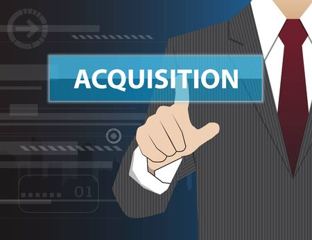 acquisition: Businessman working with modern virtual technology, hand touching ACQUISITION