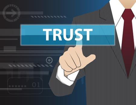virtual technology: Businessman working with modern virtual technology, hand touching TRUST