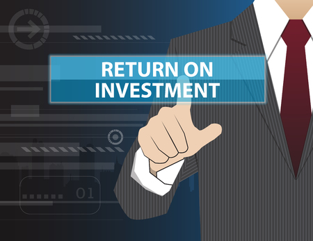 Businessman working with modern virtual technology, hand touching RETURN ON INVESTMENT (or ROI)