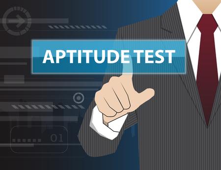 aptitude: Businessman working with modern virtual technology, hand touching APTITUDE TEST