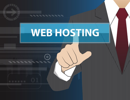 webhost: Businessman working with modern virtual technology, hand touching WEB HOSTING