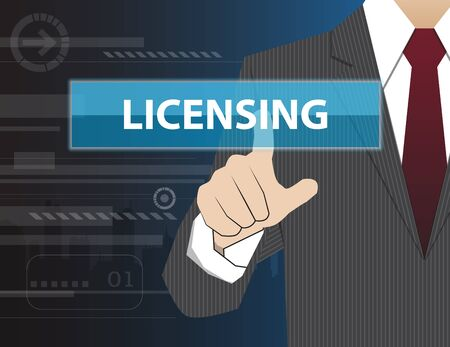 licensing: Businessman working with modern virtual technology, hand touching LICENSING Illustration