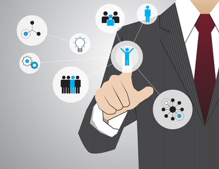 infographics touchscreen: Businessman working with modern virtual technology, hand touching  pointing to businessman icon in the middle that linked with each other as network - HR,HRM,HRD, teamwork & leadership concept