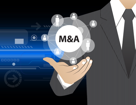 merger: Concept Businessman in his hands ,M&A