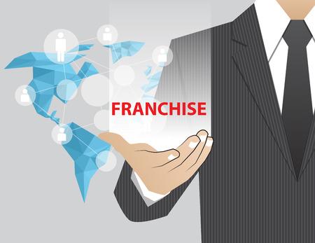 franchise: Concept Businessman in his hands , Franchise