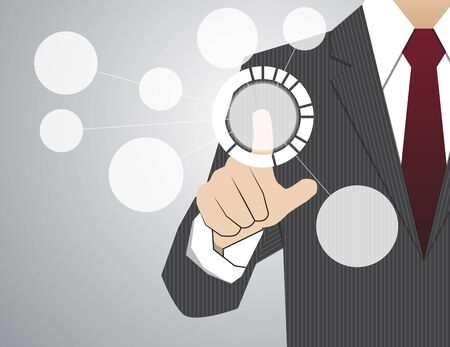 touch: Businessman working with modern virtual technology, hand touching  pointing to businessman icon in the middle that linked with each other as network - HR,HRM,HRD, teamwork & leadership concept