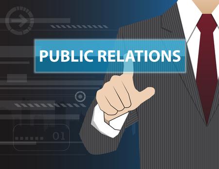 relaciones publicas: Negocios que trabaja con la tecnología virtual moderno, tocar la mano señalando RELACIONES PÚBLICAS