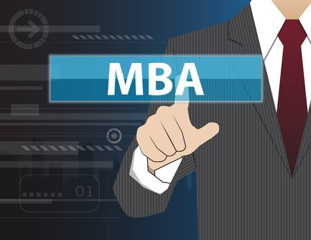 business administration: Businessman working with modern virtual technology, hand touching MBA (or Master of Business Administration) Illustration