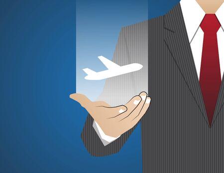 flight steward: Concept Businessman in his hands ,travel Illustration