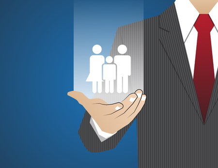 family policy: Concept Businessman in his hands ,Insurance family