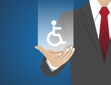 family policy: Concept Businessman in his hands, disabled