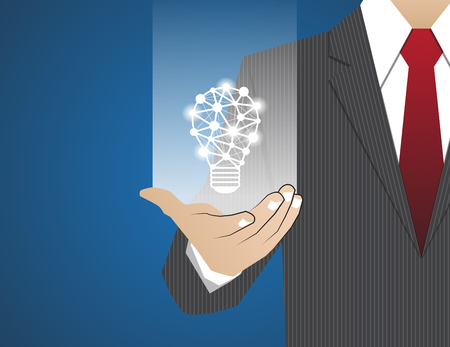 concept and ideas: Concept Businessman in his hands ,ideas concept lighting Illustration