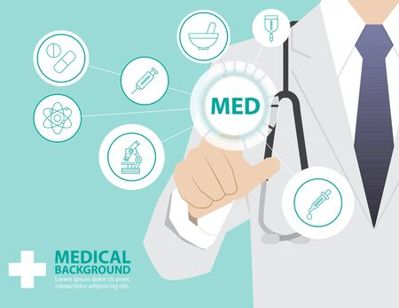 med: Medicine doctor  working with modern virtual technology, hand touching interface as medical concept,MEDICINE,MED Illustration