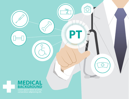 physical therapy: Medicine doctor  working with modern virtual technology, hand touching interface as medical concept,PHYSICAL THERAPY ,PT