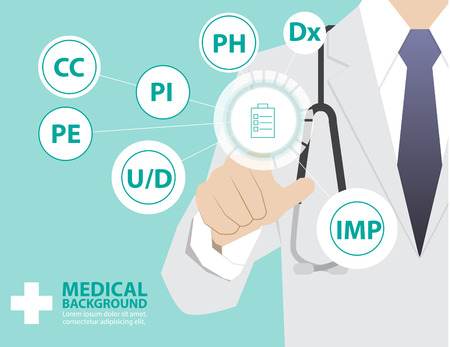 underlying: Medicine doctor  working with  virtual technology, hand touching interface as medical concept,Chief Complaint,Present illness ,Past history,Underlying disease,Physical Examination,Diagnosis,Impression Illustration