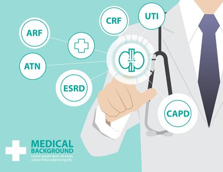 Médecine médecin travaillant avec la technologie virtuelle moderne, l'interface de toucher de la main comme concept médical, rein, l'insuffisance rénale, la CAPD, ATN, IRT, CRF, ARF, UTI