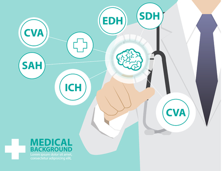 medical technology: Medicine doctor  working with modern virtual technology, hand touching interface as medical concept,brain,CVA,SDH,EDH,SAH,ICH Illustration
