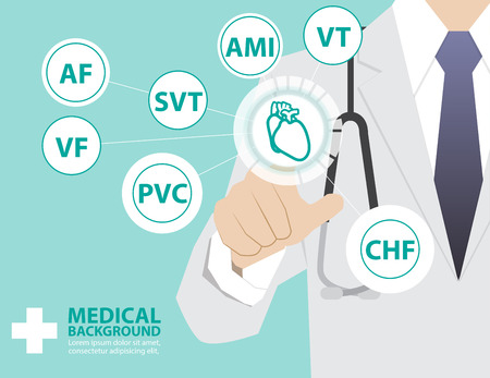 heart disease: Medicine doctor  working with modern virtual technology, hand touching interface as medical concept,heart disease Illustration