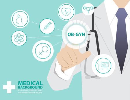 현대 가상 기술로 작업 의학 의사, 의료 개념, OBSTRETIC 산부인과, 산부인과 등의 손 터치 인터페이스