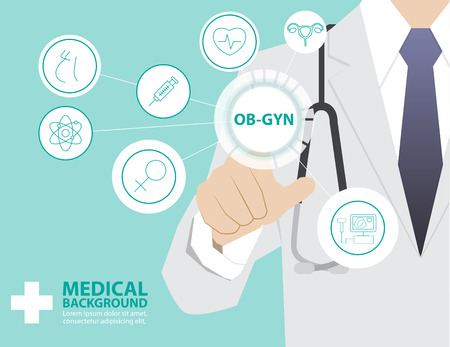 Médecine médecin travaillant avec la technologie virtuelle moderne, l'interface de toucher de la main comme concept médical, OBSTRETIC gynécologie, obstétrique et de gynécologie Banque d'images - 45102330