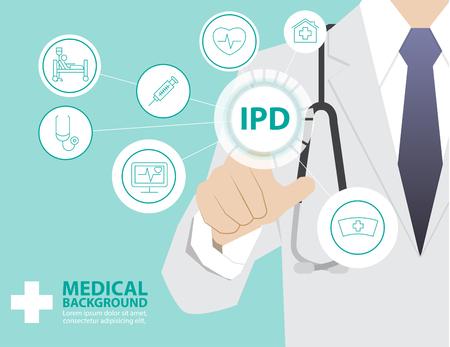 モダンな仮想化技術、医療コンセプト、入院部門、IPD としてインターフェイスに触れる手の使用医学博士