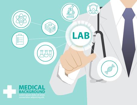 medicina: Doctor de la medicina que trabaja con moderna tecnología virtual, la mano de tocar la interfaz como concepto médico, laboratorio Vectores