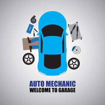 mecanico automotriz: Auto mecánico, mecánico de coche Reparación Bajo Automóvil En el garaje Vectores