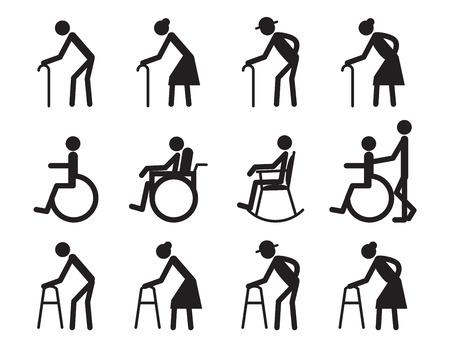 pensionering, oude mensen en patiënt, kreupele icon set