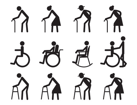 nursing home: retirement, old people and patient,cripple icon set Illustration