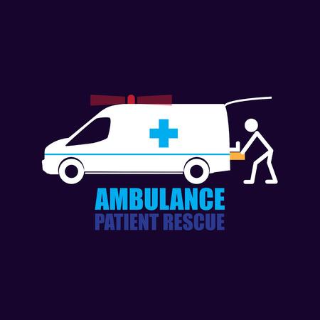 rescue: Patient Rescue ambulance vector and Symbol Illustration