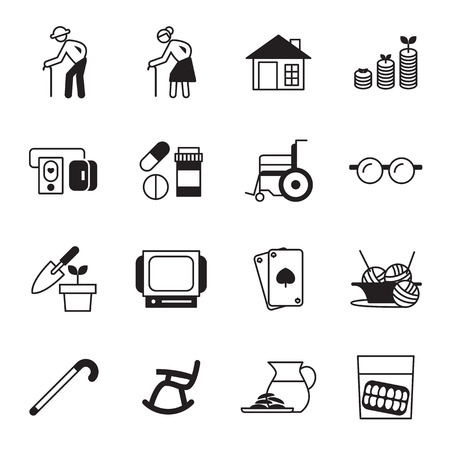 retirement, old people icon set Vectores