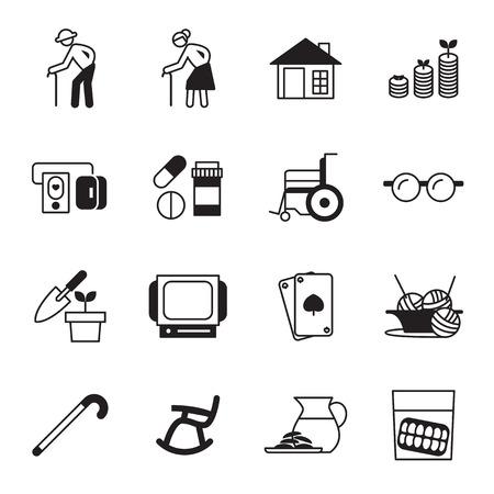 pensionering, oude mensen icon set Vector Illustratie