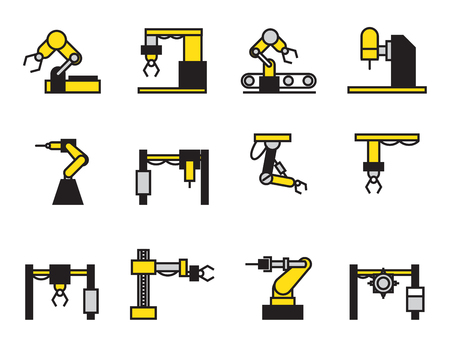 electronics parts: robot industry icons set