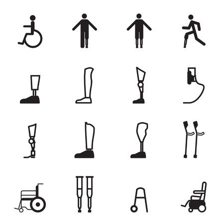 Behinderte Prothese icon set