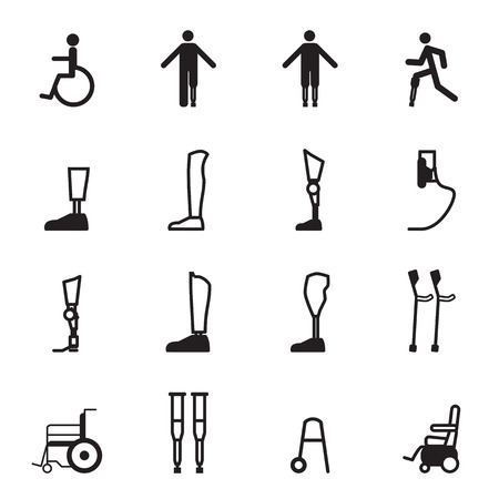 disabled prosthesis icon set