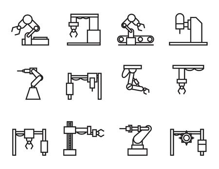 mecanica industrial: iconos de la industria robot establecen