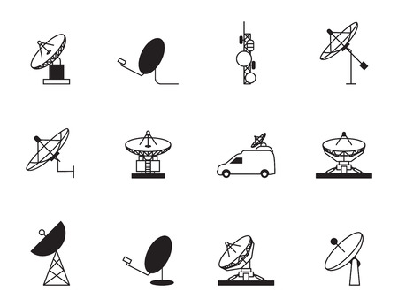airwaves: Satellite dish icon set Illustration