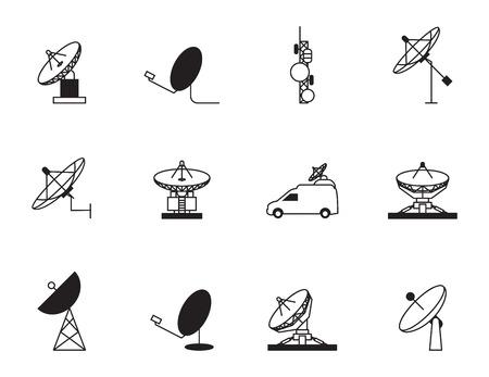 piatto: Satellite icona piatto set Vettoriali