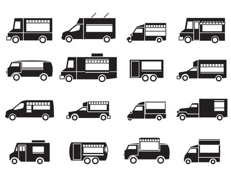cibo: cibo icona camion set Vettoriali
