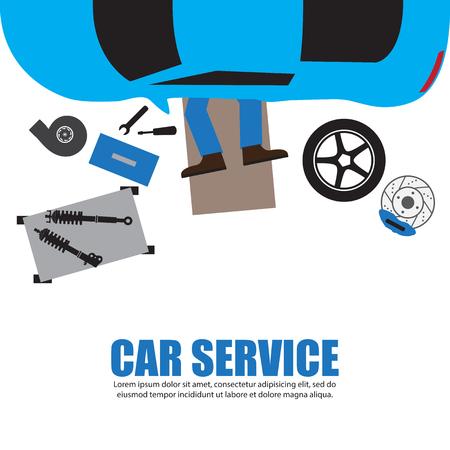 車のサービス、自動車整備士、車メカニック修理の下で自動車のガレージ