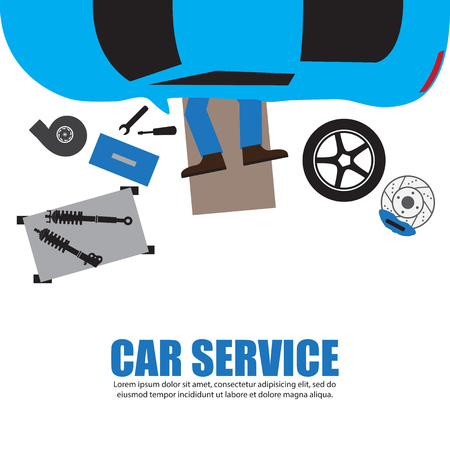 mechanics: Car service,Auto mechanic,Car Mechanic Repairing Under Automobile In the garage