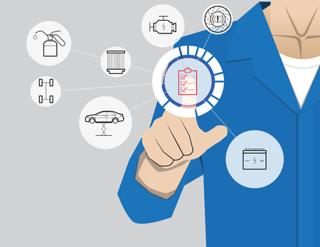 services: car service,Businessman working with modern virtual technology, hand touching pointing to accident report car, infographic