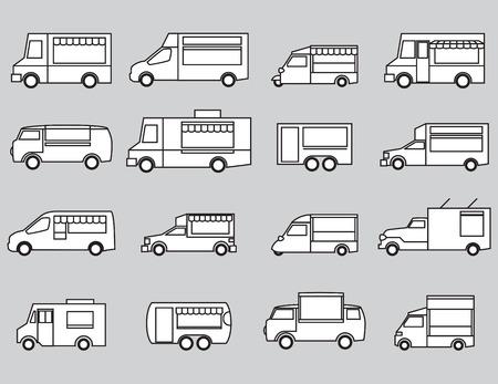 trailer: food truck icon set