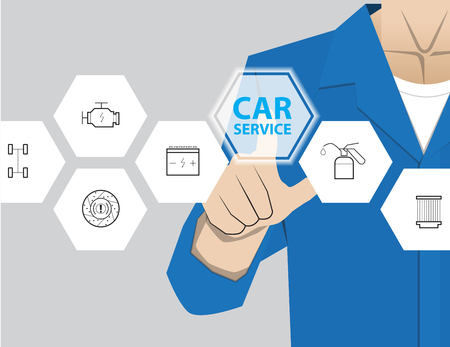 car service: car service,Businessman working with modern virtual technology, hand touching pointing to accident report car, infographic