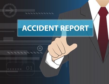 working accident: Businessman working with modern virtual technology, hand touching pointing to accident report