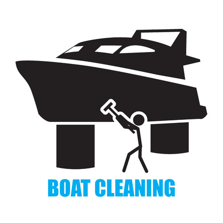 yacht isolated: boat cleaning