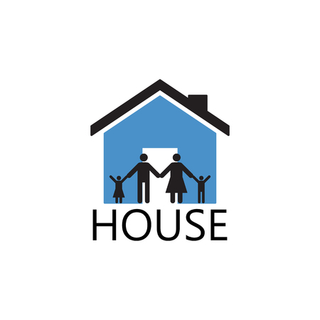 family house: House Building and family ,vector silhouette Icons and symbol Illustration